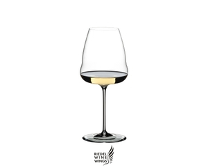 RIEDEL Winewings Restaurant Sauvignon Blanc filled with a drink on a white background