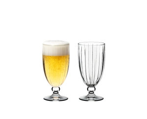 RIEDEL Sunshine Beer/Iced Beverage filled with a drink on a white background