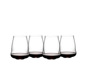4 red wine filled SL RIEDEL Stemless Wings Pinot Noir/Nebbiolo stand slightly offset side by side