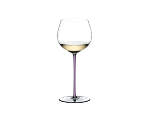 RIEDEL Fatto A Mano Oaked Chardonnay Opal Violet filled with a drink on a white background