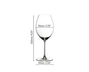 An unfilled RIEDEL Veritas Old World Syrah glass with product dimensions on white background