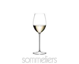RIEDEL Sommeliers Loire filled with a drink on a white background