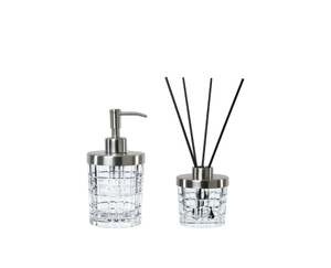 An unfilled NACHTMANN Square Spa Dispenser and an unfilled NACHTMANN Square Spa Diffuser with 8 aroma sticks side by side