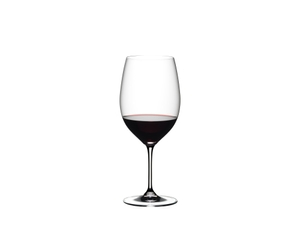 RIEDEL Vinum Cabernet Sauvignon/Merlot (Bordeaux) filled with red wine on white background