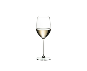 A white wine filled RIEDEL Veritas Viognier/Chardonnay on white background