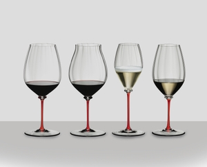 An unfilled RIEDEL Fatto A Mano Performance Cabernet Sauvignon glass with a red stem on white background with product dimensions.
