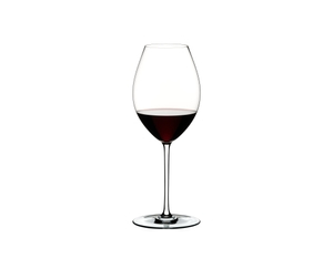 RIEDEL Fatto A Mano Syrah White filled with a drink on a white background