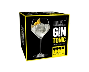 Unfilled RIEDEL Gin glass on white background with product dimensions