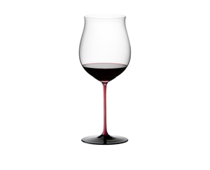 An unfilled RIEDEL Sommeliers Black Series Burgundy Grand Cru with a red stem on a white background with product dimensions.