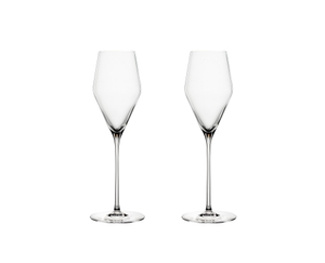 2 unfilled SPIEGELAU Definition Champagne Glasses side by side