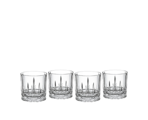 4 unfilled Spiegelau Perfect Serve Collection Negroni glasses on white background
