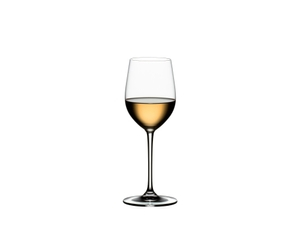RIEDEL Vinum XL Viognier/Chardonnay filled with a drink on a white background