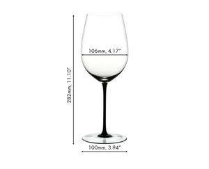 An unfilled RIEDEL Sommeliers Black Tie Bordeaux Grand Cru glass on white background with product dimensions