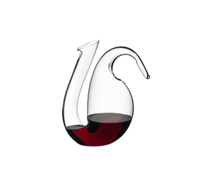 RIEDEL Decanter Ayam Mini R.Q. filled with a drink on a white background