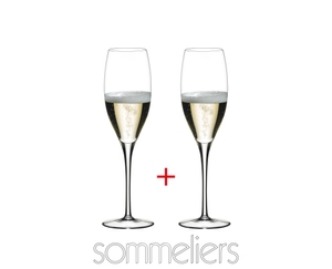 2 RIEDEL Sommeliers Vintage Champagne Glasses filled with Champagne on white background, the Sommeliers logo below the glasses