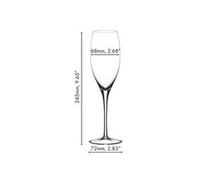 An unfilled RIEDEL Sommeliers Vintage Champagne Glass on white background with product dimensions