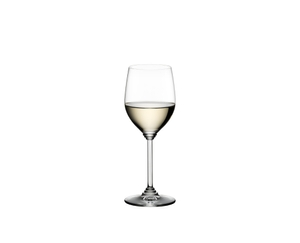 RIEDEL Wine Viognier/Chardonnay filled with a drink on a white background