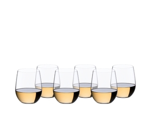 6 RIEDEL O Wine Tumbler Viognier/Chardonnay filled with white wine stand in two rows offset side by side