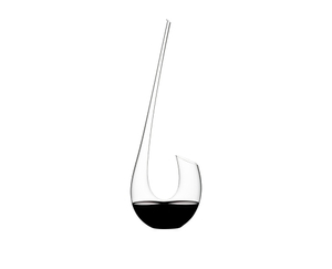 RIEDEL Decanter Swan filled with a drink on a white background