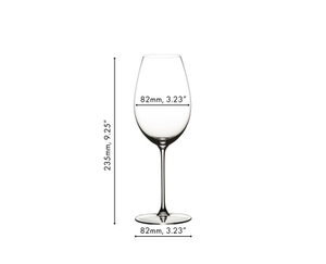 Unfilled RIEDEL Veritas Sauvignon Blanc glass on white background with product dimensions