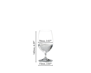 RIEDEL Vinum Gourmet Glass filled with sparkling water on white background with product dimensions