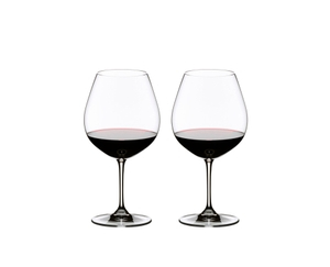 Two red wine filled RIEDEL Vinum Pinot Noir (Burgundy red) glasses side by side