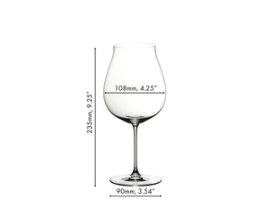 RIEDEL Veritas New World Pinot Noir/Nebbiolo/Rosé Champagne glass filled with Rosé Champagne on white background