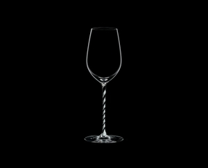 RIEDEL Fatto A Mano Riesling/Zinfandel Black & White R.Q. on a black background