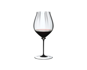 RIEDEL Fatto A Mano Performance Pinot Noir Black Stem filled with a drink on a white background
