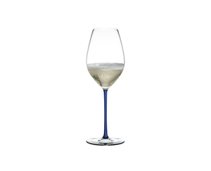 RIEDEL Fatto A Mano Champagne Wine Glass Dark Blue filled with a drink on a white background