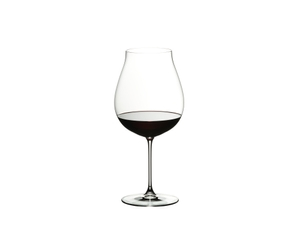 RIEDEL Veritas New World Pinot Noir/Nebbiolo/Rosé Champagne Glass filled with a drink on a white background