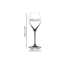 An unfilled RIEDEL Extreme Rosé Wine / Rosé Champagne Glass on white background with product dimensions