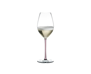 RIEDEL Fatto A Mano Champagne Wine Glass Pink filled with a drink on a white background
