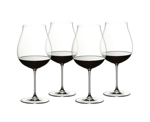 Four red wine filled RIEDEL Veritas New World Pinot Noir/Nebbiolo/Rosé Champagne glasses slightly offset next to each other on white background