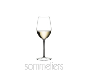 A RIEDEL Sommeliers Zinfandel/Riesling Grand Cru glass filled with white wine