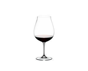 RIEDEL Vinum New World Pinot Noir filled with a drink on a white background