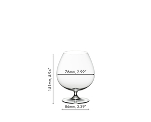 RIEDEL Vinum Brandy glass filled with brandy on white background