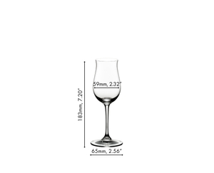A RIEDEL Vinum Cognac Hennessy glass filled with cognac on a white background