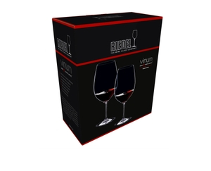 An unfilled RIEDEL Vinum Syrah/Shiraz/Tempranillo glass on white background with product dimensions