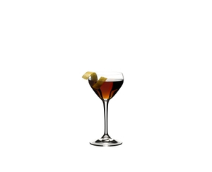 RIEDEL Drink Specific Glassware Mixology Nick & Nora Set filled with a drink on a white background