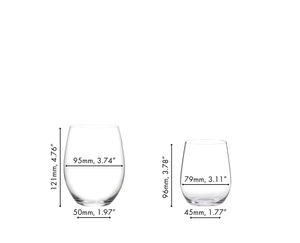 A red wine filled RIEDEL O Wine Tumbler Cabernet/Merlot next to a white wine filled RIEDEL O Wine Tumbler Viognier/Chardonnay on a white background