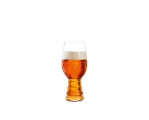 SPIEGELAU Craft Beer Glasses IPA filled with a drink on a white background