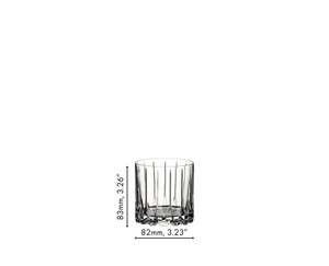 An unfilled RIEDEL Drink Specific Glassware Rocks tumbler on a white background with product dimensions