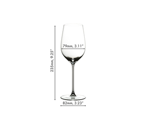 RIEDEL Veritas Riesling/Zinfandel glass filled with red wine on white background