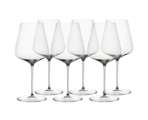 6 unfilled SPIEGELAU Definition Bordeaux Glasses stand slightly offset side by side