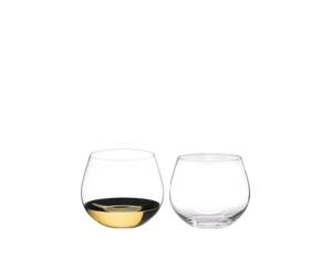 RIEDEL O Wine Tumbler Oaked Chardonnay filled with a drink on a white background