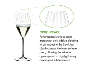 The optical blown glass of the RIEDEL Performance Champagne Glass is shown in zoom and explained textually.