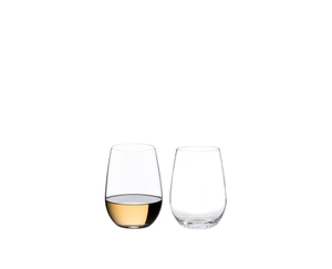Two RIEDEL O Wine Tumbler Riesling/Sauvignon Blanc on white background. The one on the left is filled with red wine, the one on the right side is empty.
