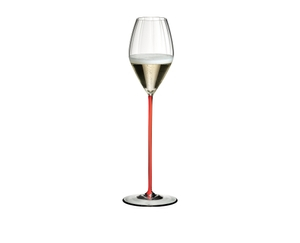 RIEDEL High Performance Champagne Glass Red filled with a drink on a white background