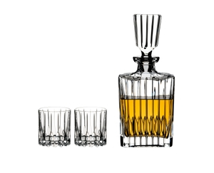 RIEDEL Drink Specific Glassware Neat Spirits Set filled with a drink on a white background